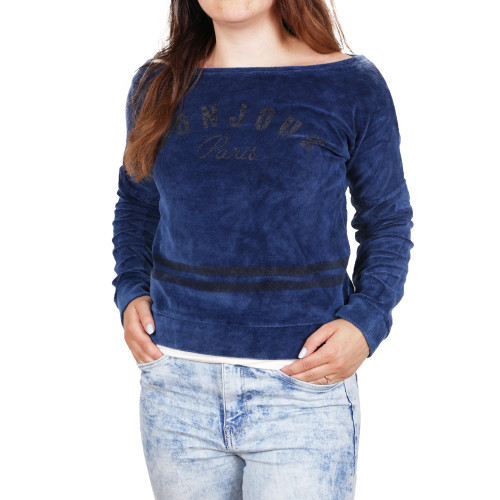 D & A Lifestyle Ladies Bonjour Paris Sweatshirt azul escuro